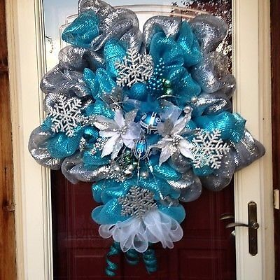 Star shaped silver blue deco mesh wreath ebay for Craft wreaths for sale
