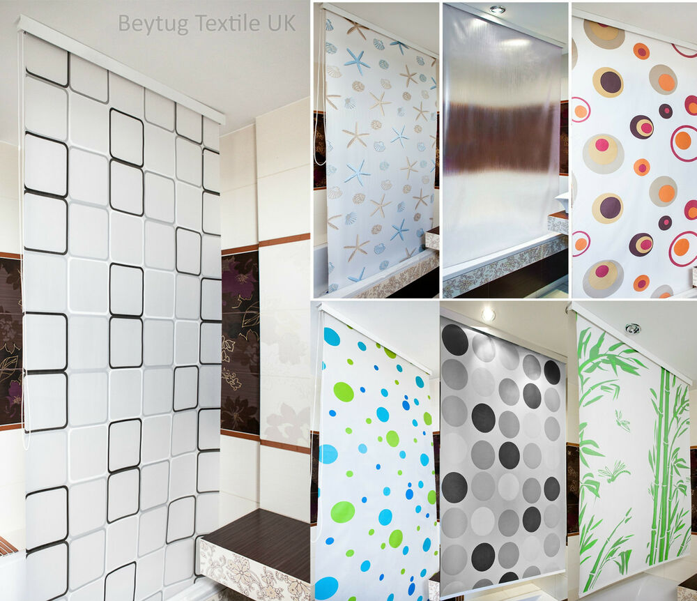 Bathroom Tab Design: Modern Bathroom Shower Curtain Roller Blinds Extra Long