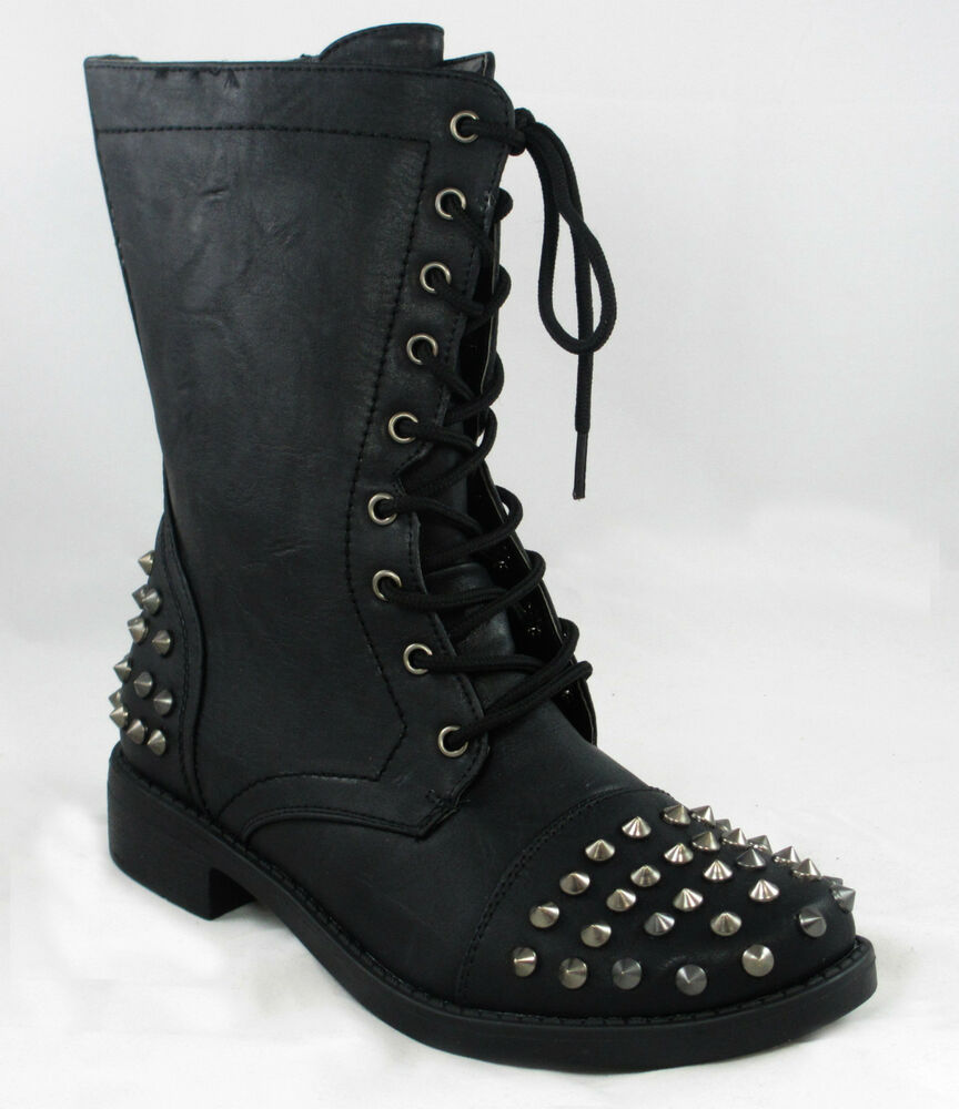 Ladies Spike Studs Military Combat Lace Up Ankle Boot Shoes Black ...