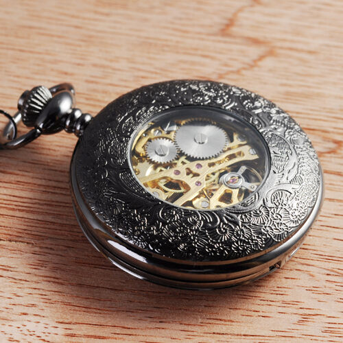 mechanical black skeleton steel chain wind up mens pocket