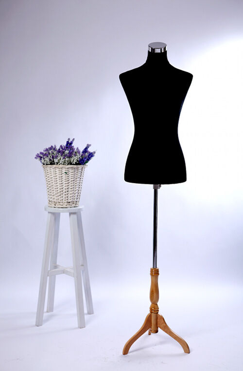 female mannequin torso w  wooden stand pinnable black