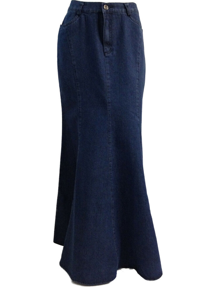 cotton length blue denim skirt uk
