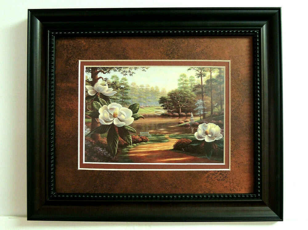 Magnolia Flower Picture Double Matted Framed Art Print