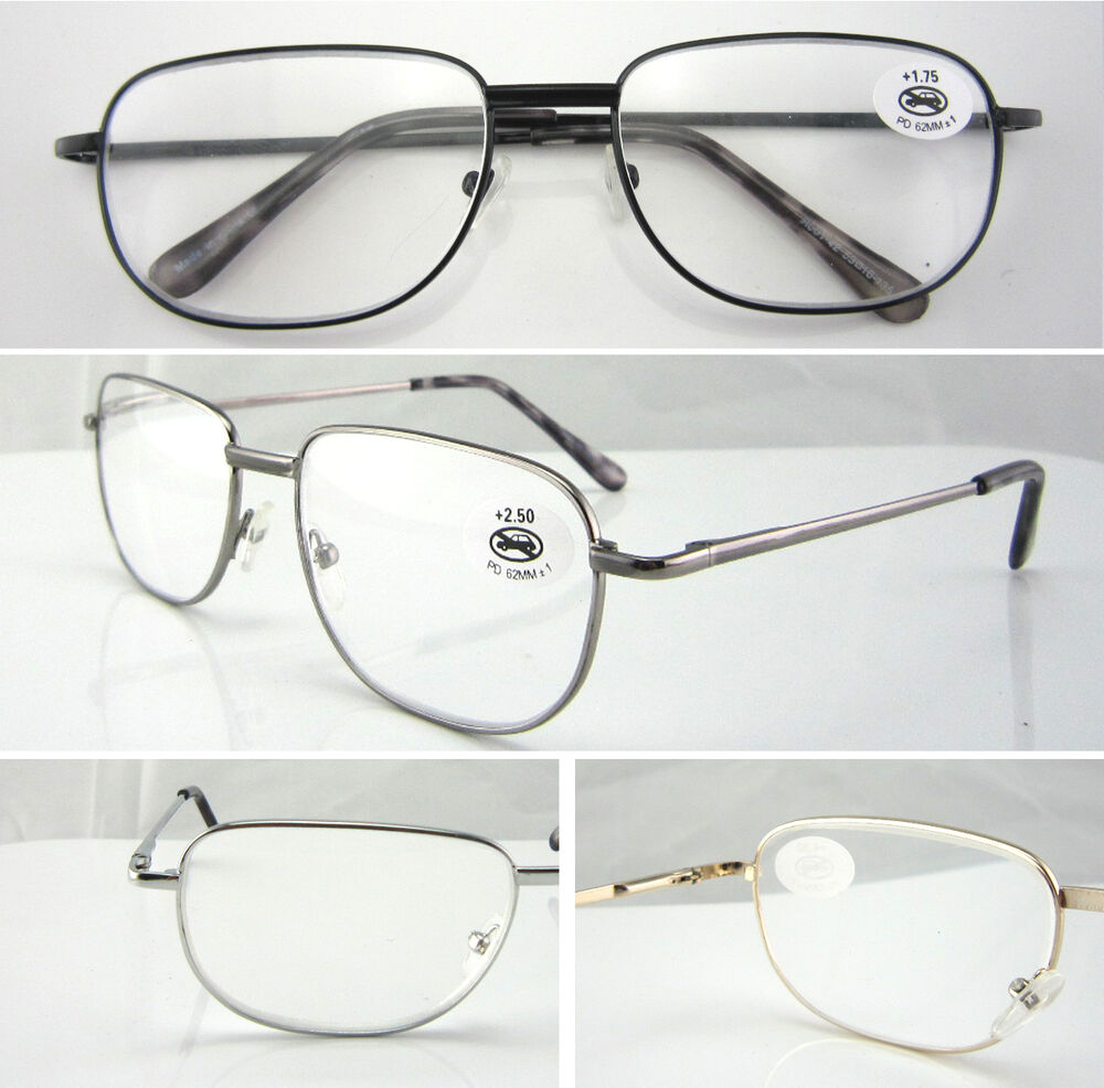 Reading Glasses Large Frame : L42 Metal Reading Glasses/Spring Hinges/Large Frame ...