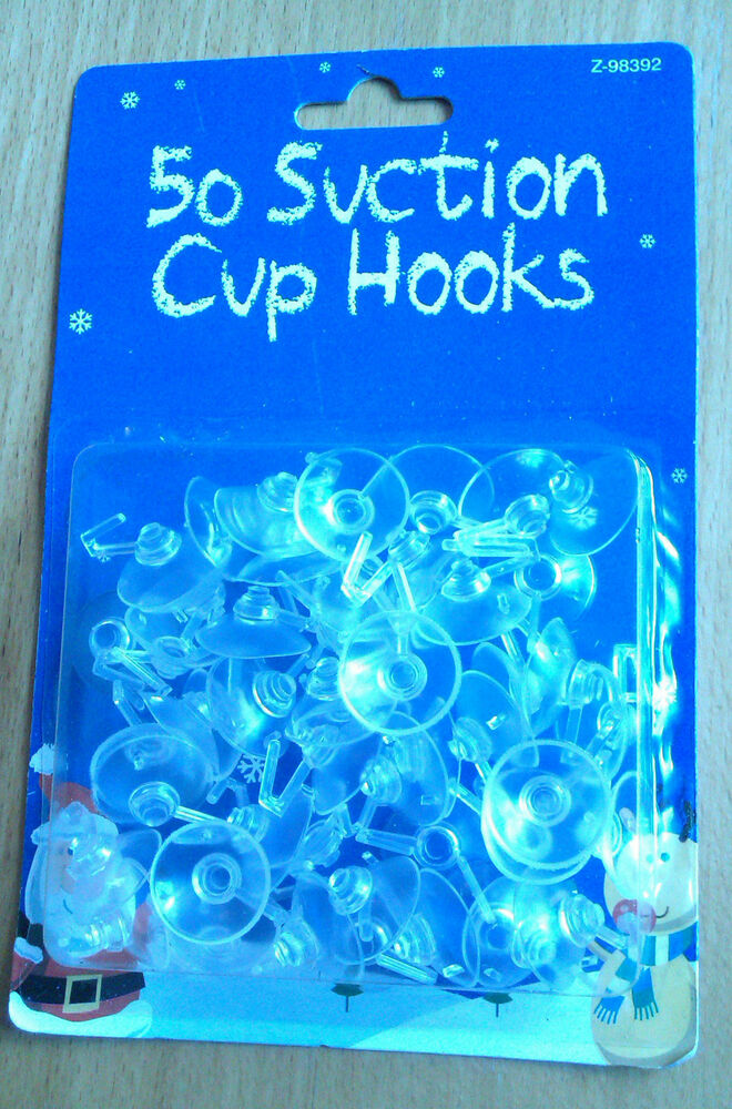 50 Suction Cups With Plastic Hooks For Windows Decorations