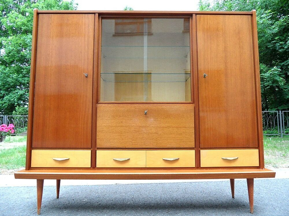 50er 60er j buffet schrank rockabilly anrichte vitrine b cherschrank wohnzimmer ebay. Black Bedroom Furniture Sets. Home Design Ideas