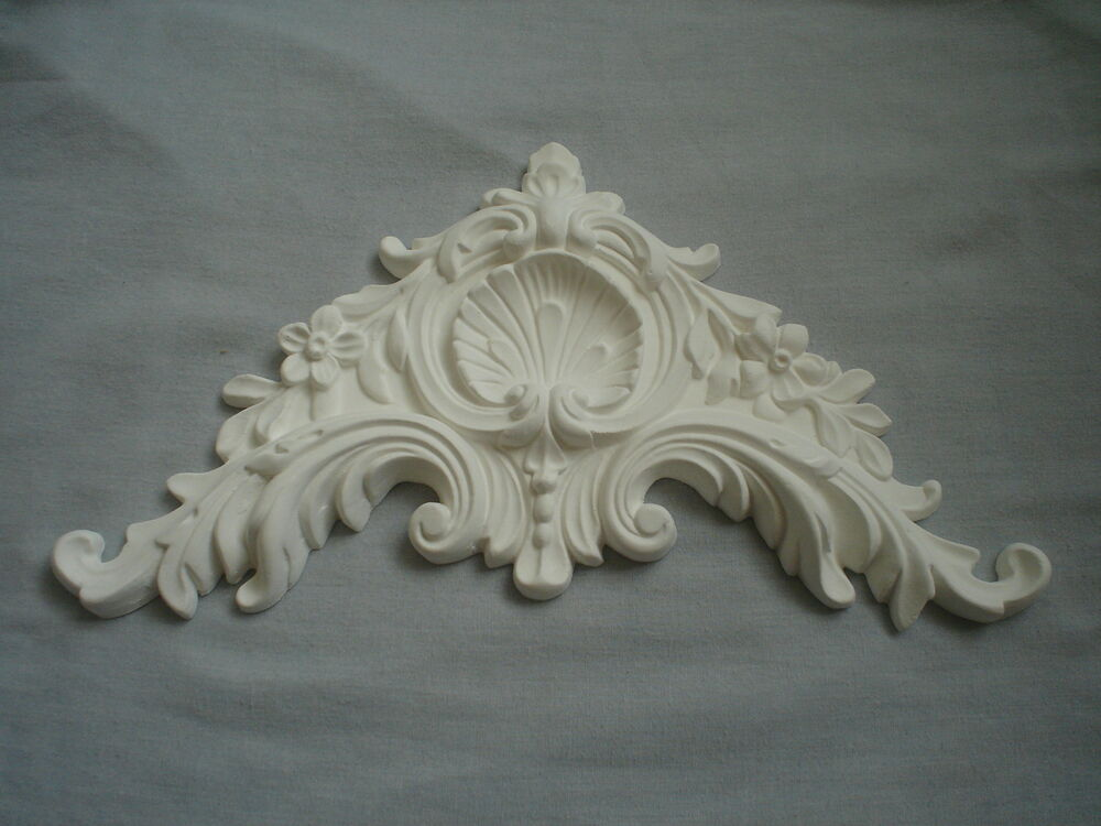 Very Ornate French Bed Pediment Moulding White Resin Ebay