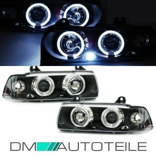 bmw e36 scheinwerfer angel eyes klarglas schwarz coupe. Black Bedroom Furniture Sets. Home Design Ideas