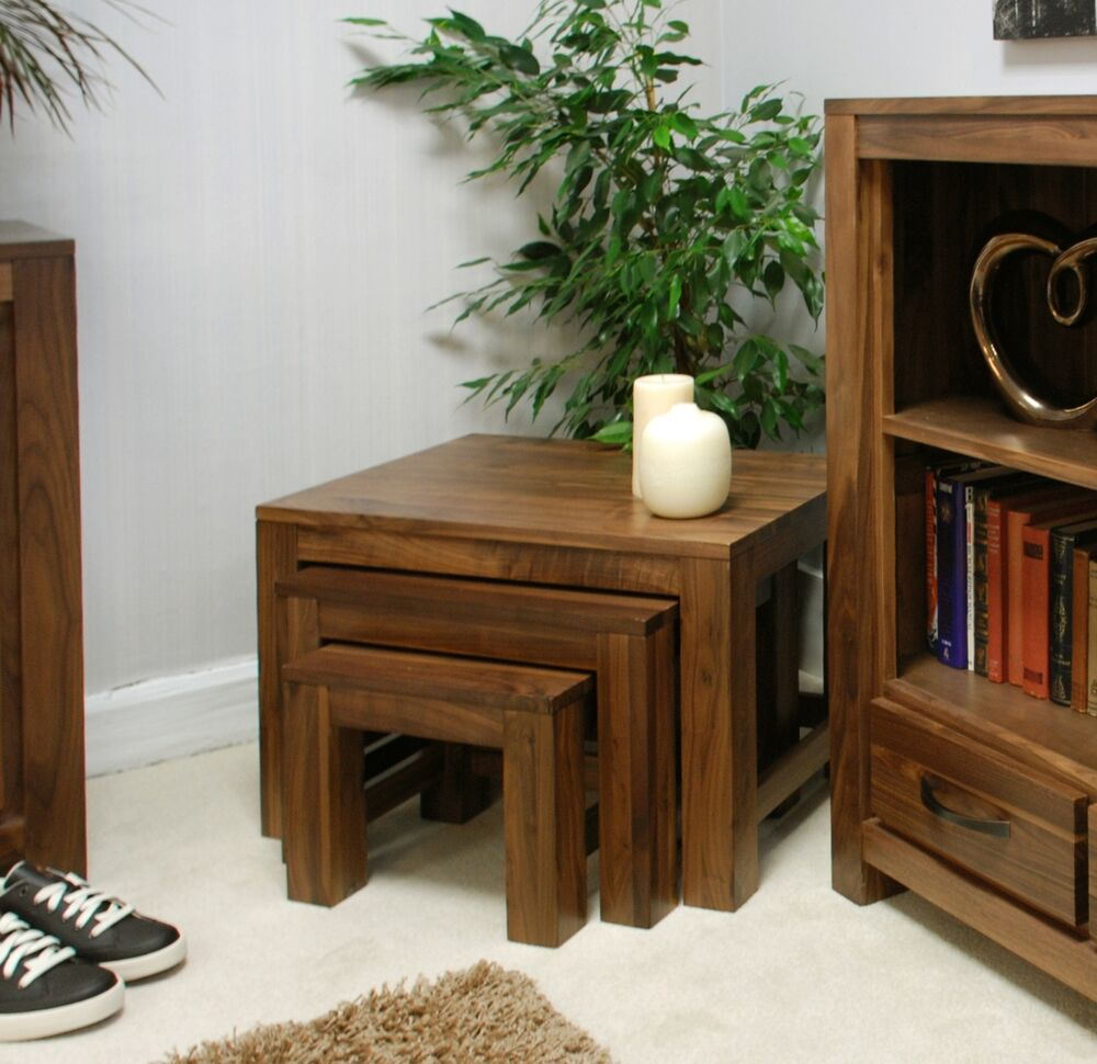 Mayan Solid Walnut Home Living Room Furniture Nest Of Three Coffee Tables Set Ebay