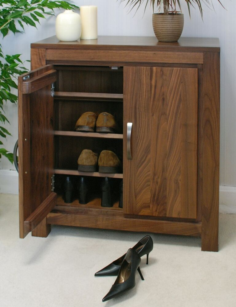 Mayan Solid Walnut Home Hallway Furniture Shoe Cupboard Cabinet Rack Ebay