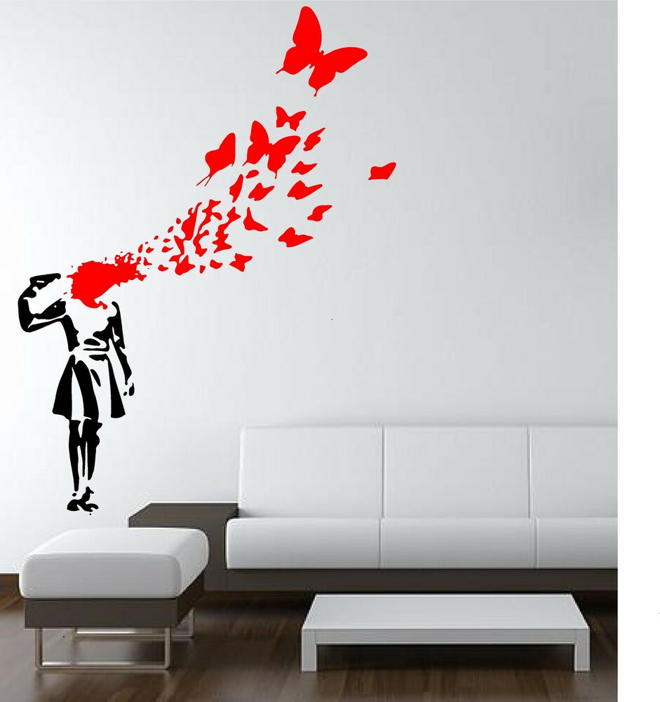 Banksy Girl Gun Butterflys Wall Art Decal Stencil Sticker