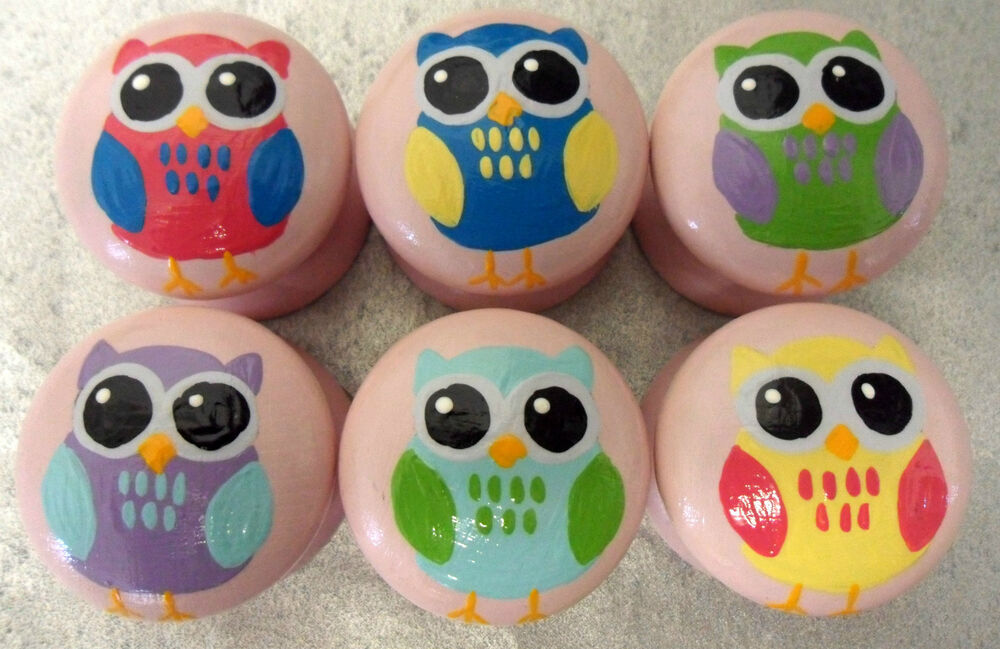 Hand painted childrens owl animal door drawer knobs for Children s bureau knobs