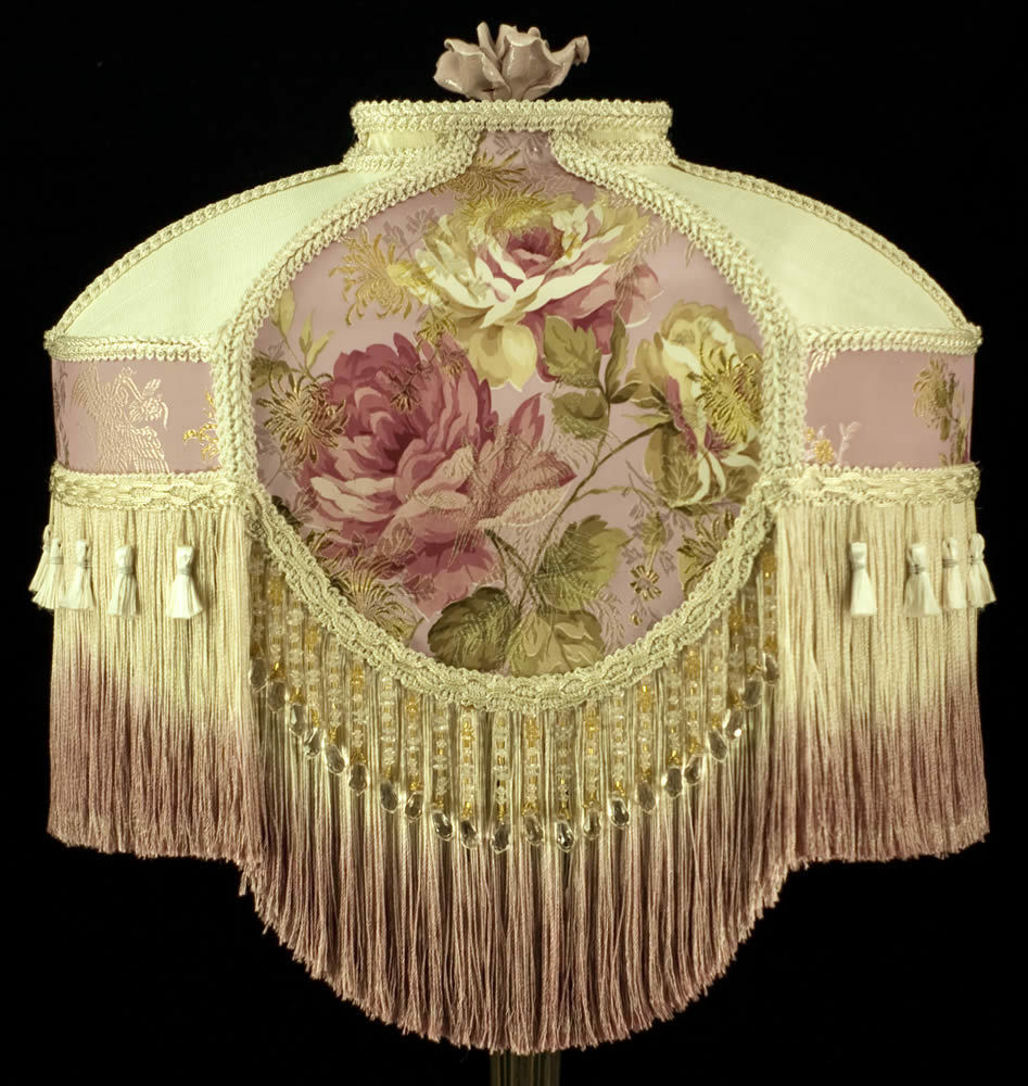 Stunning victorian lampshade embroidered pink silk ivory for How to make beaded chandelier lamp shades