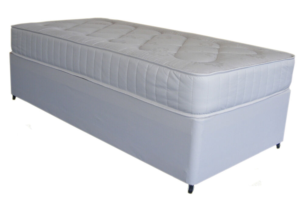 Single white leather deep quilt 3ft divan bed and mattress for 3ft single divan bed with mattress