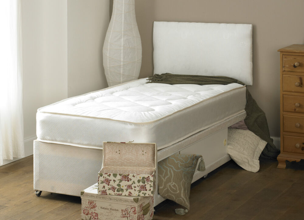 Single Deep Quilt 3ft Divan Bed And Mattress Headboard