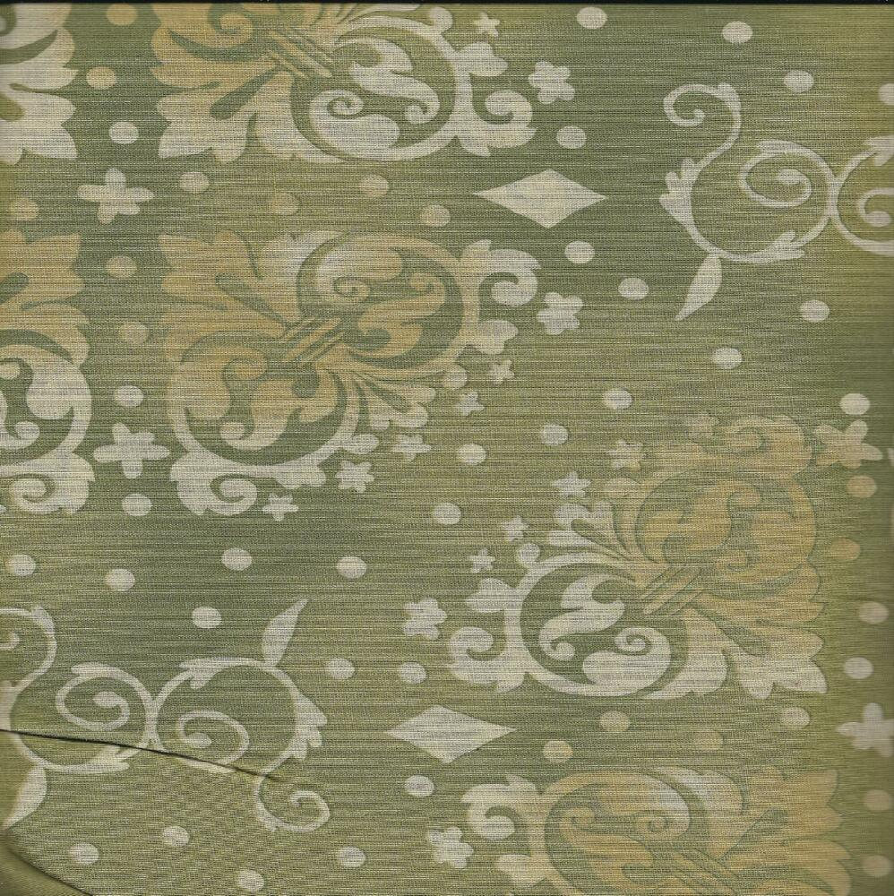 108 Quot Wide Quilt Backing Bty Olive Green Tonal Medallion
