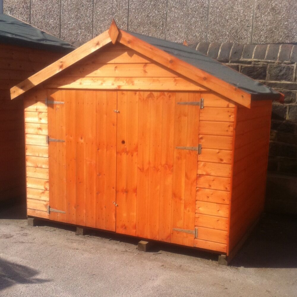 7ft x 5ft wooden bike shed 7x5 t g storage hut with double for Storage huts for garden