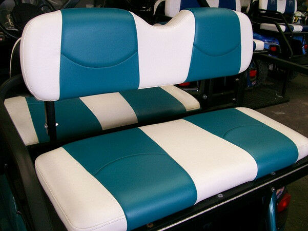 ez go txt golf cart custom deluxe seat covers front and rear white teal ebay. Black Bedroom Furniture Sets. Home Design Ideas