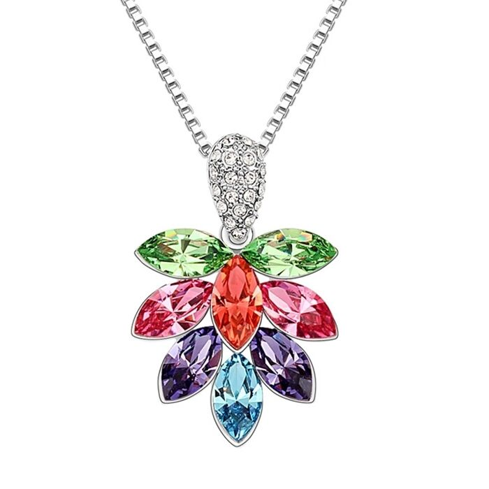 949195edb1 Details about 18K White Gold Plated Made With Swarovski Crystal Ice Flower  Colorful Necklace