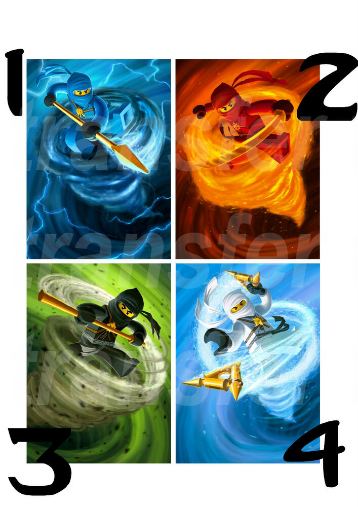 Ninjago lego iron on transfer t shirt light or dark or sticker wall deco lot nl ebay - Mh deco ...