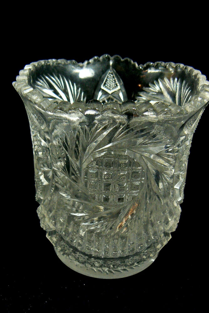 Vintage Pressed Clear Glass Small Vase | eBay