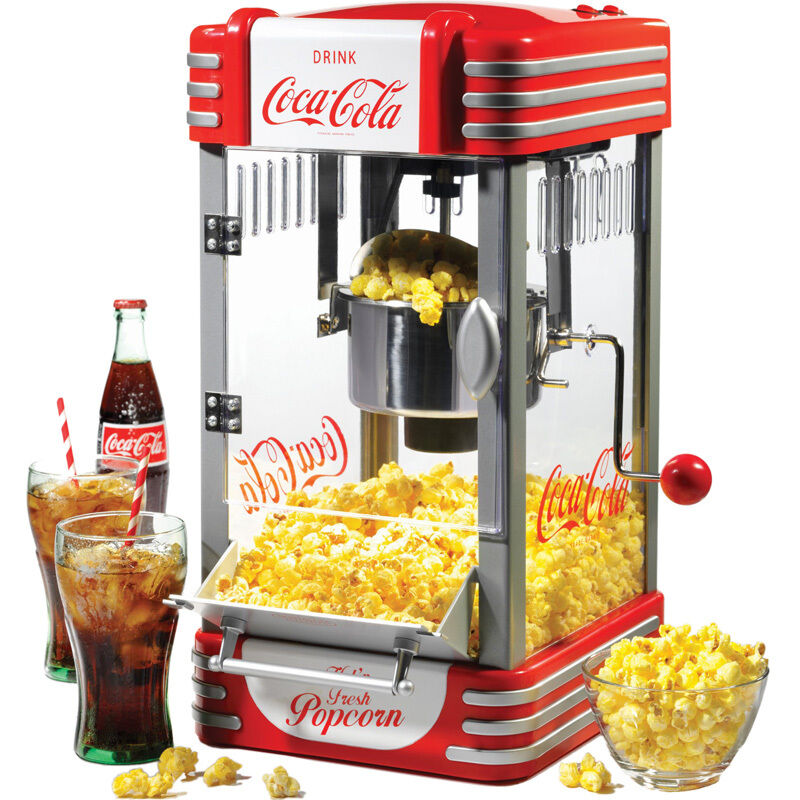 coca cola popcorn machine w stainless steel kettle popper home retro corn maker ebay. Black Bedroom Furniture Sets. Home Design Ideas