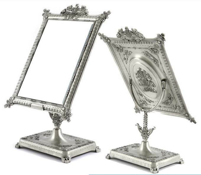 Antique style standing mirror table pedestal makeup square for Silver stand up mirror