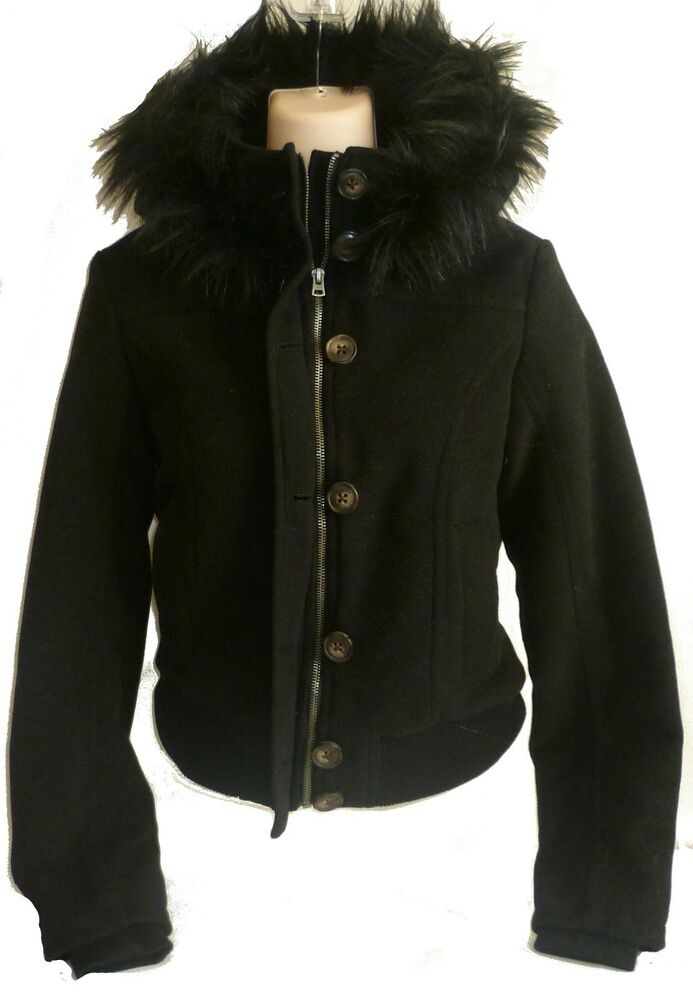 Womens AEROPOSTALE Hooded Wool Bomber Jacket Winter Coat ...