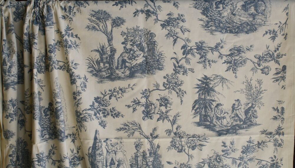 christopher moore pastoral wedgwood blue toile de jouy fabric four seasons 5y ebay. Black Bedroom Furniture Sets. Home Design Ideas
