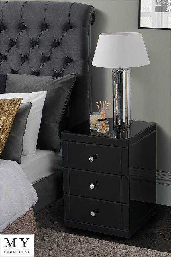 2 X Black Mirrored Glass High Gloss Bedside Tables Cabinet