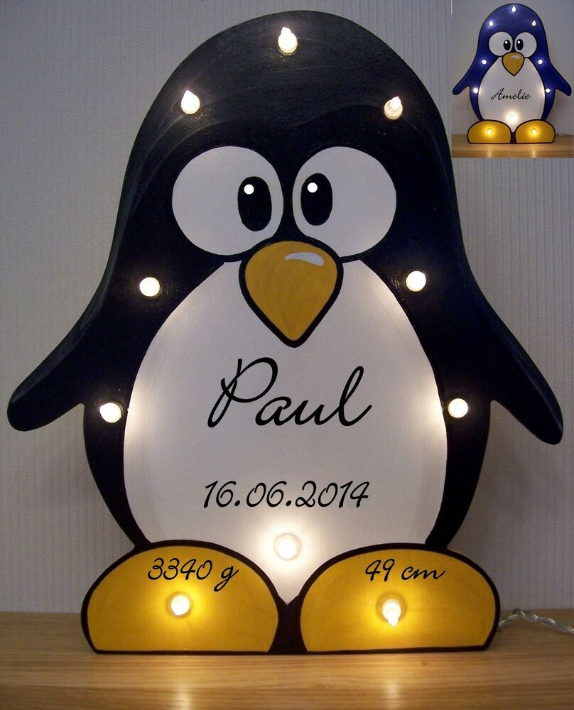 pinguin lampe pingu schlummerlicht mit namen daten. Black Bedroom Furniture Sets. Home Design Ideas