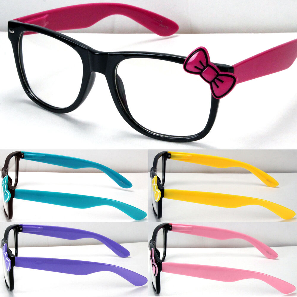 4ff30cbe38bf Details about New Womens Clear Lens Frame Eye Glasses Bow Bowknot Hello  Kitty Party Fashion