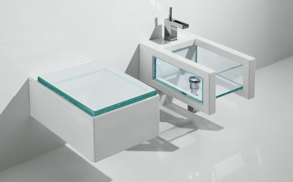 sanit r gsg glass wandh ngend toilette wc und bidet sitz trasparenten harz soft ebay. Black Bedroom Furniture Sets. Home Design Ideas