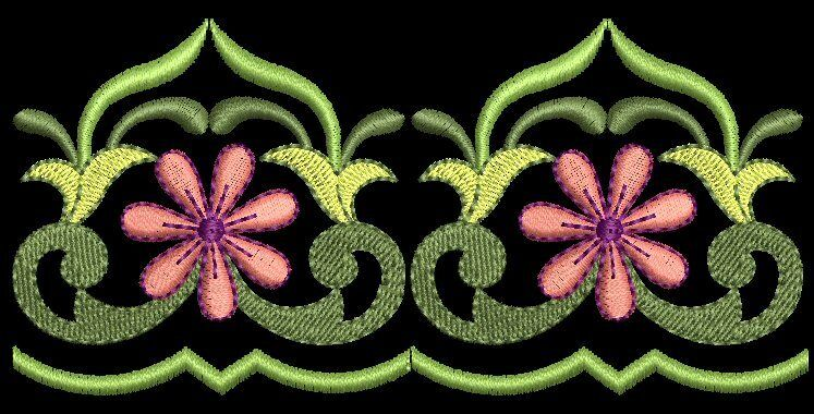 Belle floral borders machine embroidery design cd for