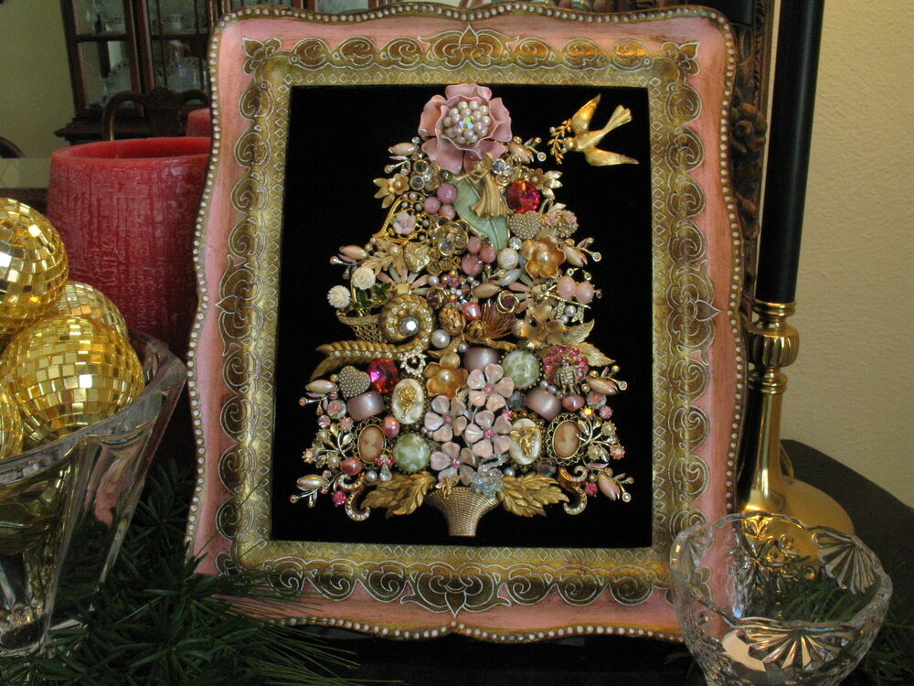 Framed Vintage Jewelry Christmas Tree Art Shabby Chic Pink