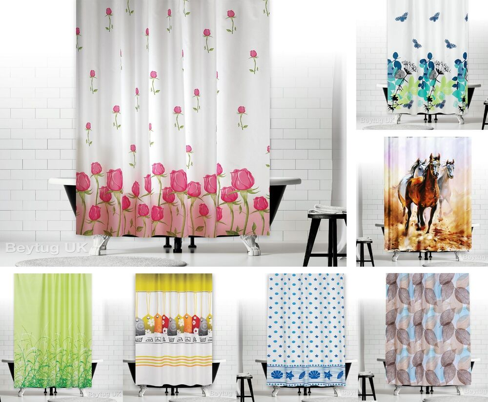 New Designer Fabric Shower Curtains Extra Long 180 X 200