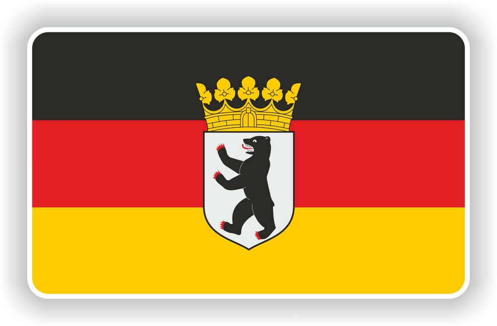 berlin deutschland flagge mit wappen aufkleber deutsch. Black Bedroom Furniture Sets. Home Design Ideas