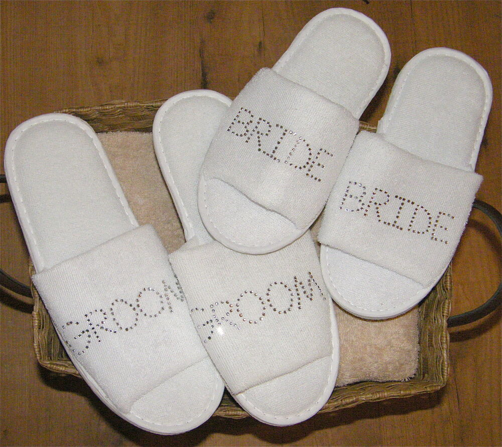 Personalized Wedding Slippers Bridal Party Slippers: Bride & Groom Slippers Set Personalised Rhinestone Spa