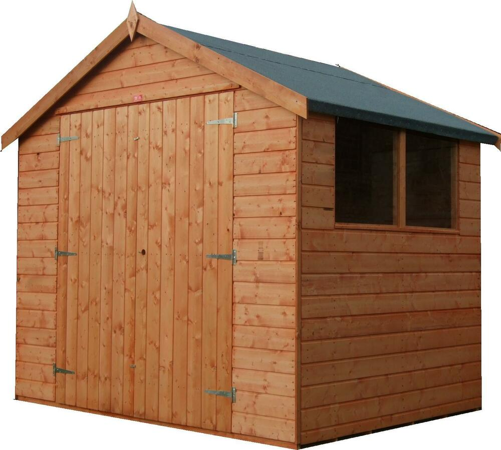 6x8 garden shed double doors reverse apex shiplap tongue for Garden shed 8x5