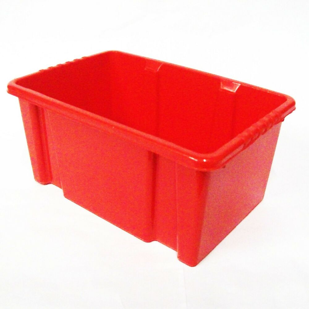 red plastic kids childrens school classroom stacking shelf storage bins boxes ebay. Black Bedroom Furniture Sets. Home Design Ideas