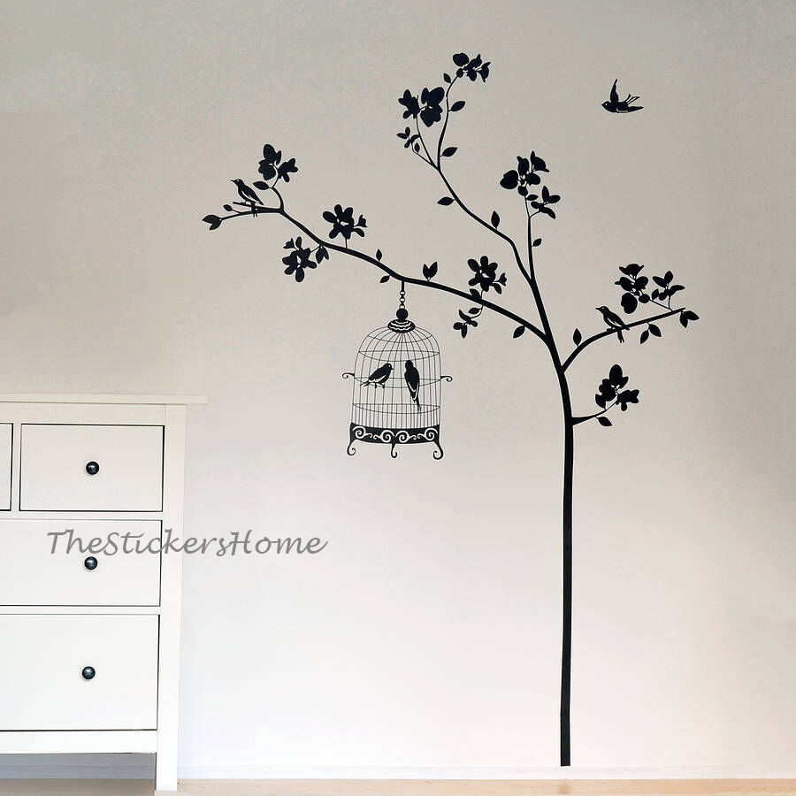 Tree with bird cage wall art decal stickers vinyl for Stickers de pared