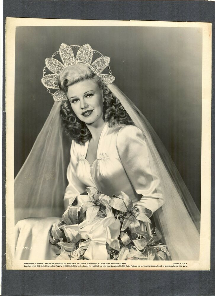 Beautiful Ginger Rogers In Wedding Dress Veil 1946