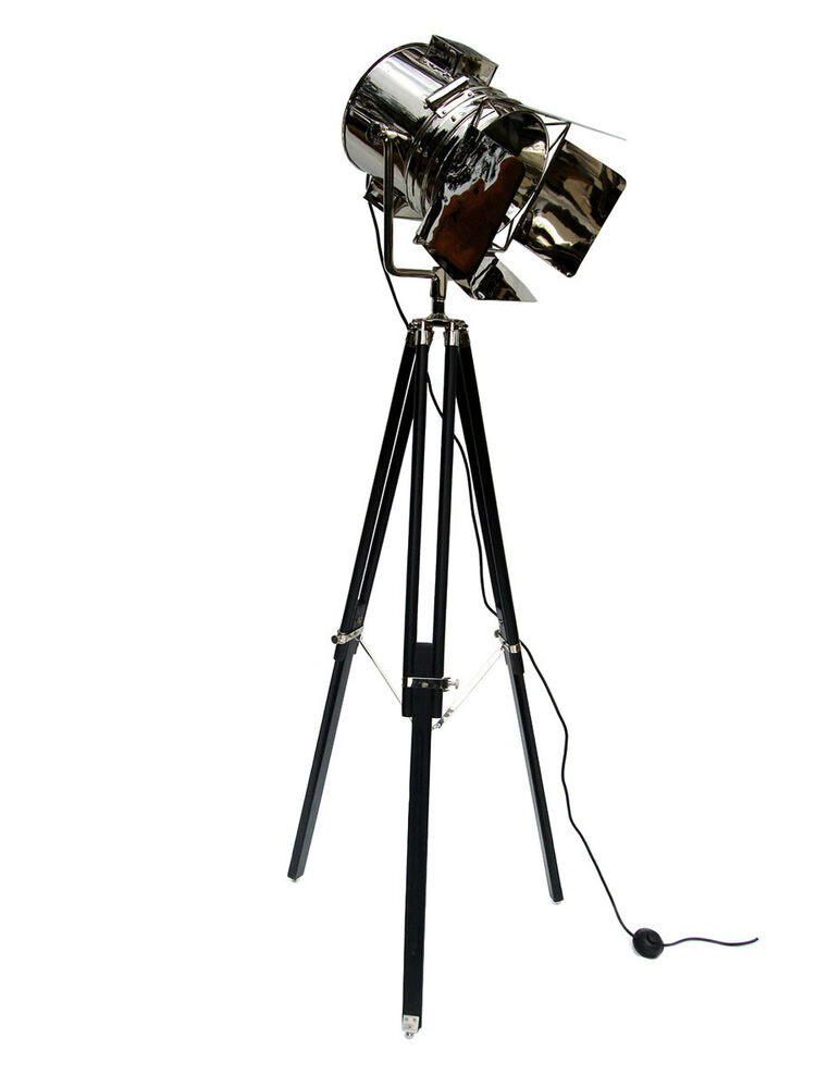 Large uk tripod studio theater spotlight searchlight floor for Tripod spotlight floor lamp in teak wood