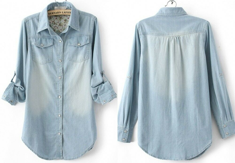 Womens Denim Shirt Lady Long Sleeves Button Front Floral