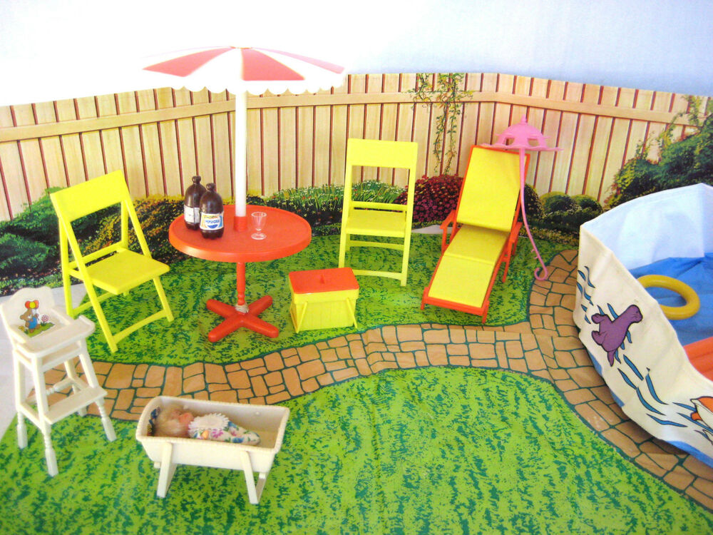 Vintage barbie swimming pool dollhouse furniture 1980s dream pool party play set ebay for Barbie doll house with swimming pool