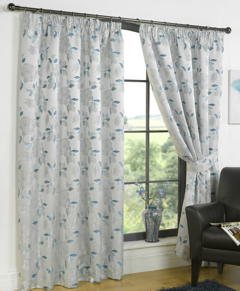 henley comtemporary floral ready made pencil pleat lined. Black Bedroom Furniture Sets. Home Design Ideas