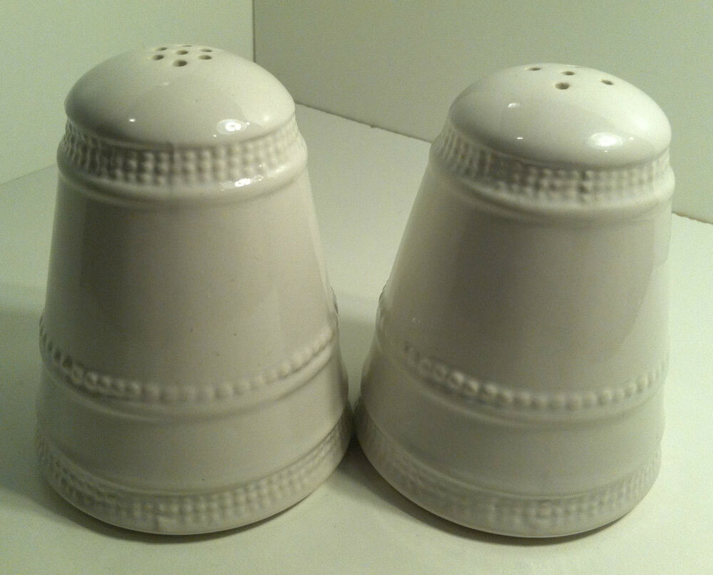 mikasa studio nova chantilly white heavy salt pepper shakers ebay