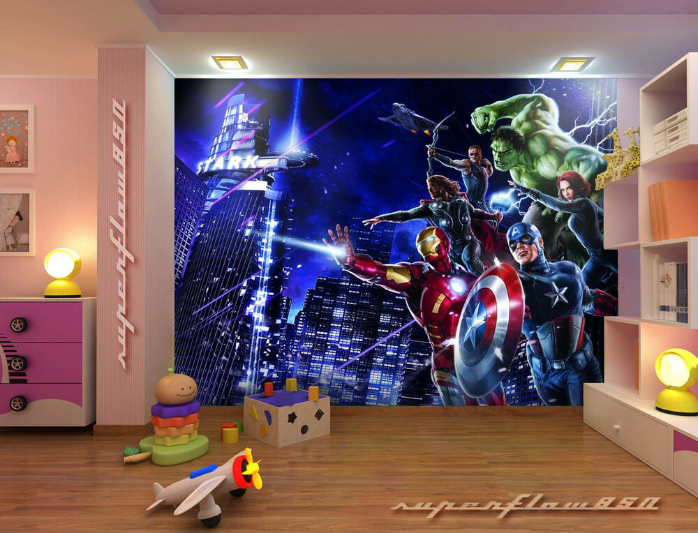 Marvel avengers heroes photo wallpaper wall mural kids for Batman mural wallpaper uk