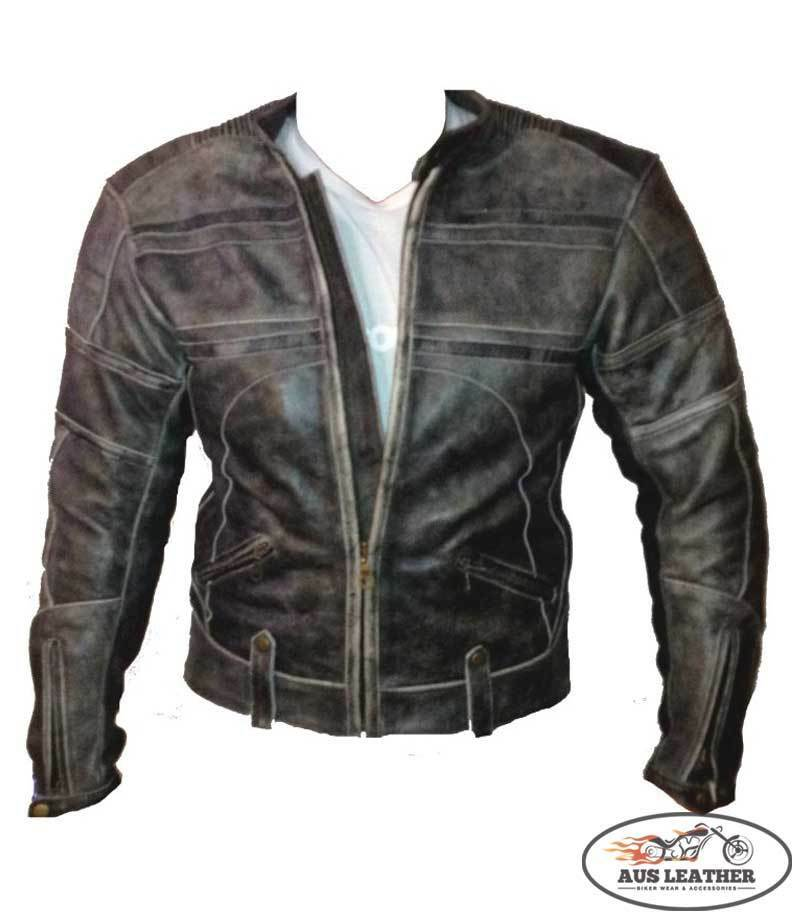 Mens leather jacket motorcycle jacket motorbike'RETRO ...