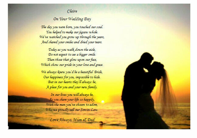 Father Daughter Wedding Gifts: To My DAUGHTER On Her Wedding Day From MUM Or DAD